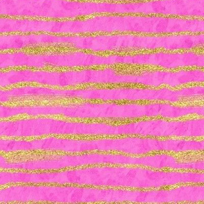 Hot Pink Watercolor + Gold Glitter Stripe