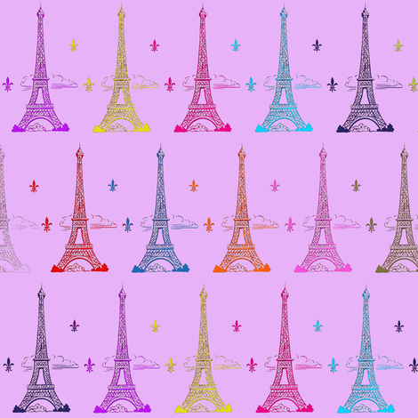 Eiffel Tower MULTI Color On Lt Purple Paris Bebe Bound Fabric By Parisbebe