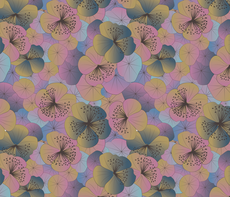 magical garden stencilled fabric by kociara on Spoonflower - custom fabric