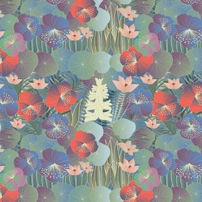 tropical flora on blue