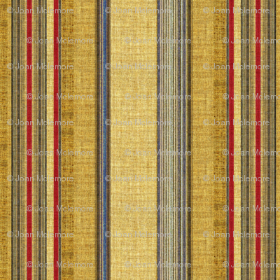 Patriot stripe linen in red, blue and tan
