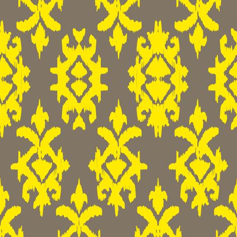 RAJAH IKAT - pebble + lemon fabric by marcador on Spoonflower - custom fabric
