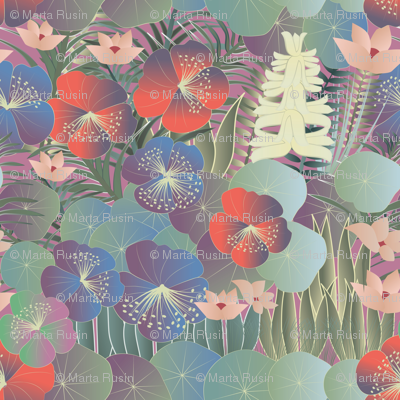 tropical flora on mauve