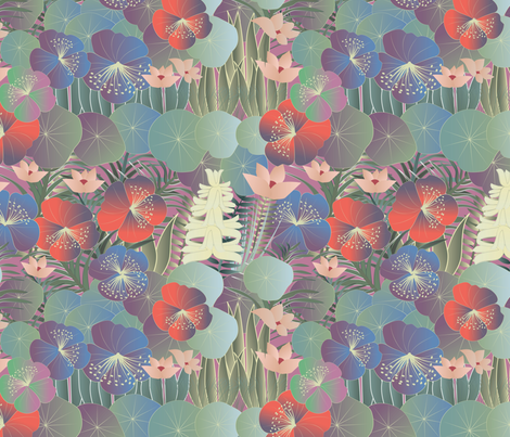 tropical flora on mauve fabric by kociara on Spoonflower - custom fabric