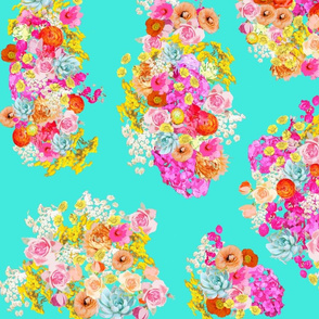 Summer Bright Floral Cluster // Turquoise