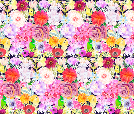 Summer Bouquet // Navy  fabric by theartwerks on Spoonflower - custom fabric