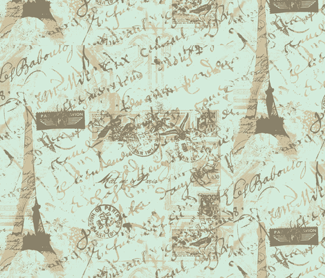 parisian_french_script_with_french_postage green fabric by karenharveycox on Spoonflower - custom fabric