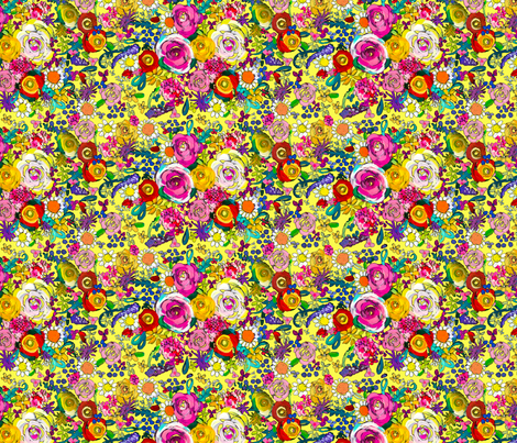 Les Fleurs // Yellow  fabric by theartwerks on Spoonflower - custom fabric