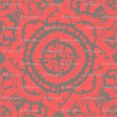 SALMA - coral and grey