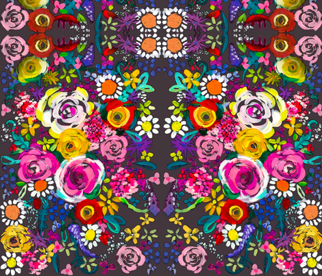 Les Fleurs // Charcoal  fabric by theartwerks on Spoonflower - custom fabric