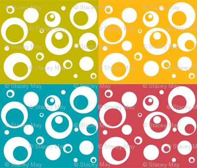 Circles and Dots - Berry Turquoise Citron Mango Quad