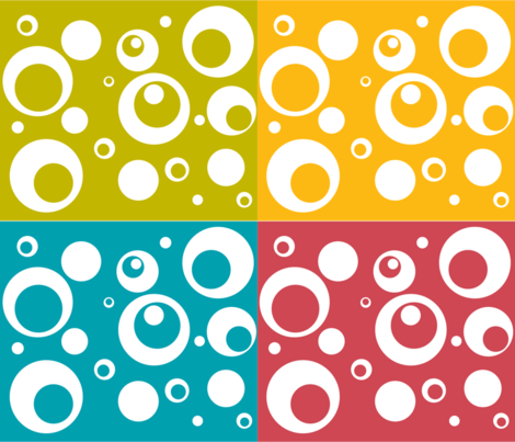 Circles and Dots - Berry Turquoise Citron Mango Quad fabric by ripdntorn on Spoonflower - custom fabric