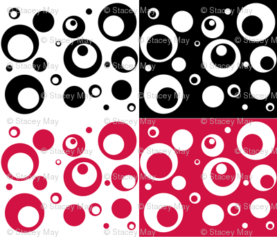 Circles and Dots - Geranium and Black Quad