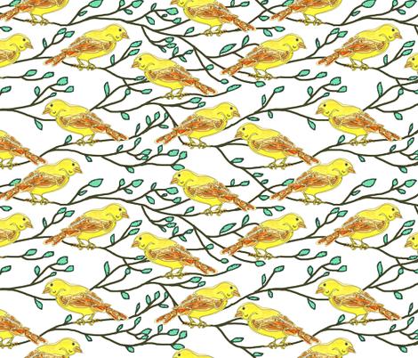 Yellow bird conference fabric by martaharvey on Spoonflower - custom fabric