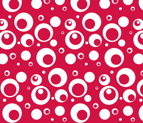 Circles and Dots - Geranium Large Print fabric by ripdntorn on Spoonflower - custom fabric