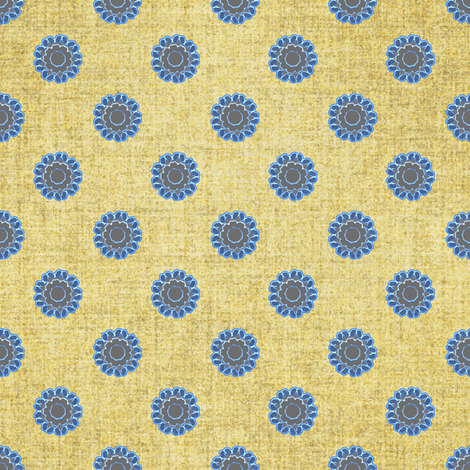Linen and Azure floral dots fabric by joanmclemore on Spoonflower - custom fabric