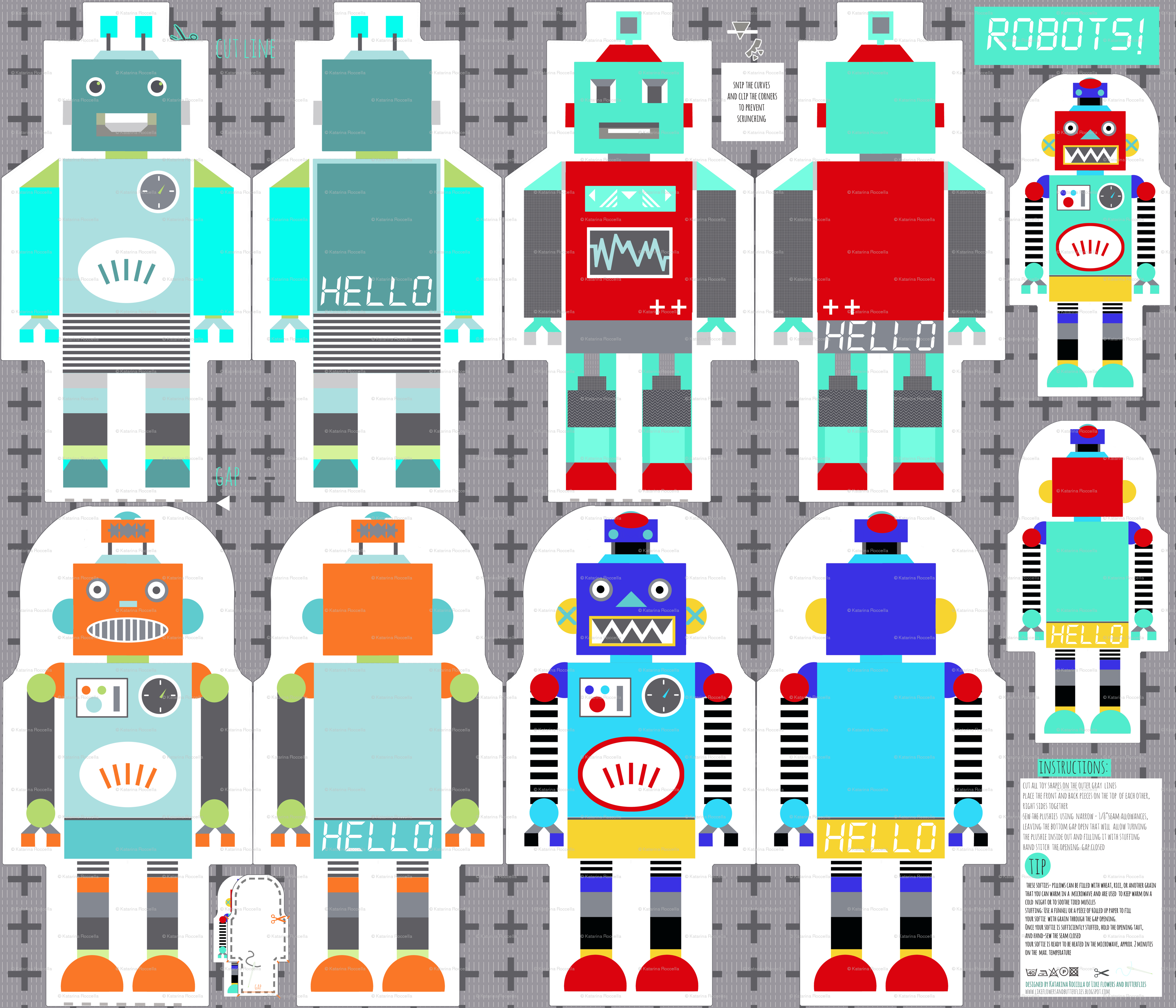 funky retro robots -cut and sew template-pattern wallpaper ...