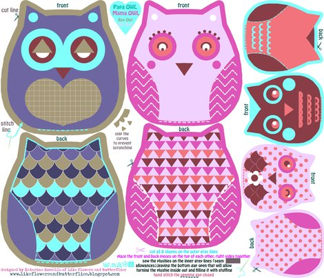 Funky owls cut and sew pattern fabric katarina spoonflower for Owl templates for sewing