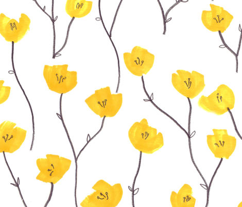 Buttercup field fabric by jo_clark on Spoonflower - custom fabric