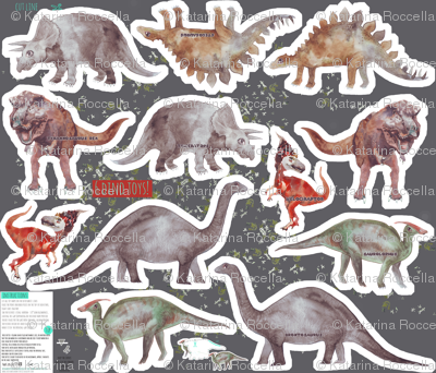6 dinosaur softie toys - cut and sew pattern-template