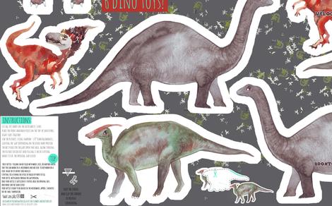 6 dinosaur softie toys - cut and sew pattern-template fabric by katarina on Spoonflower - custom fabric