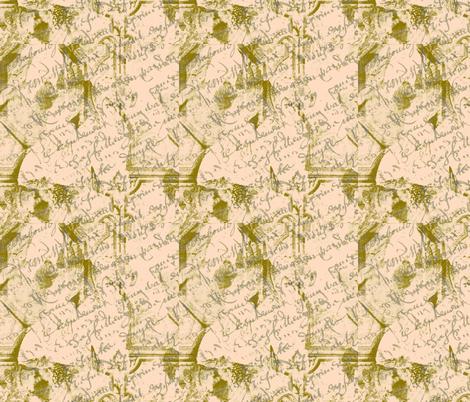 Parisian French Script Peach fabric by karenharveycox on Spoonflower - custom fabric
