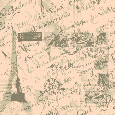 Parisian French script with postage peach fabric by karenharveycox on Spoonflower - custom fabric