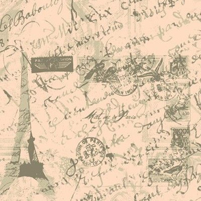 Parisian French script with postage peach
