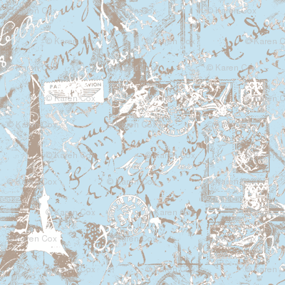 Parisian French script Powder Blue