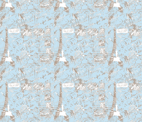 Parisian French script Powder Blue fabric by karenharveycox on Spoonflower - custom fabric