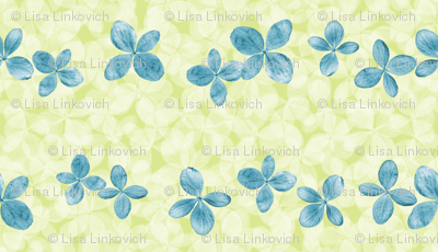 Hydrangea scatter, blue and green