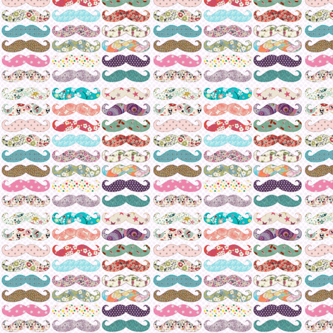 Mustaches Girly fabric by mk_&_co_design on Spoonflower - custom fabric