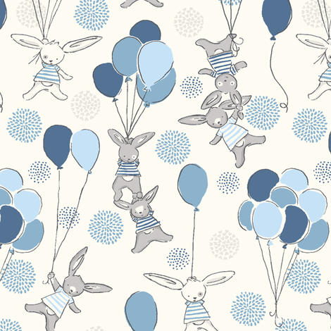 funny_bunny_love_a_float_blue fabric by stacyiesthsu on Spoonflower - custom fabric