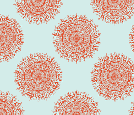 Medallion Coral fabric by littlerhodydesign on Spoonflower - custom fabric