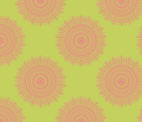 Medallion Chartreuse fabric by littlerhodydesign on Spoonflower - custom fabric