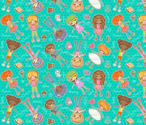 yay girls aqua fabric by jillianmorris on Spoonflower - custom fabric