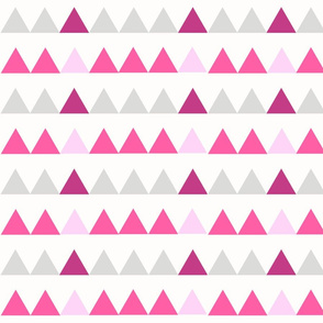Pink Triangles - Pink, Fuchsia, Grey