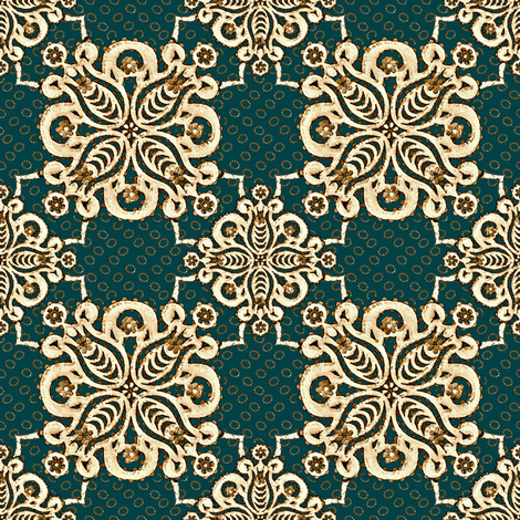 damask_teal mission fabric by glimmericks on Spoonflower - custom fabric