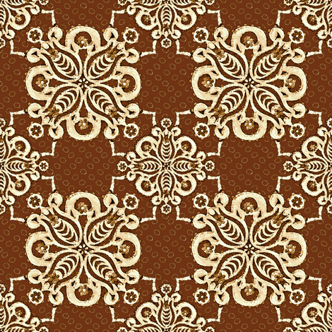 damask_chocolate mission fabric by glimmericks on Spoonflower - custom fabric