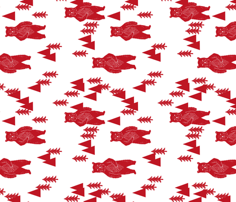 forest bear fabric // red nursery baby fabric fabric by andrea_lauren on Spoonflower - custom fabric
