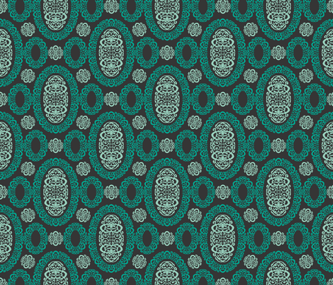 Intricate Cameos in Green fabric by pearl&phire on Spoonflower - custom fabric