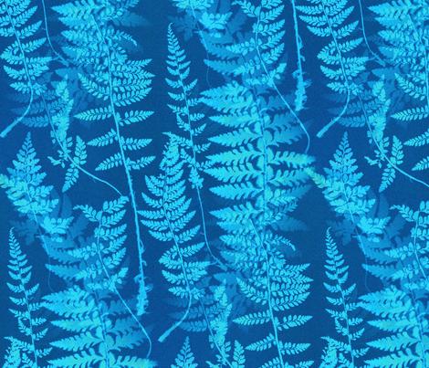 Ferns in Blue Cyanotype fabric by telden on Spoonflower - custom fabric