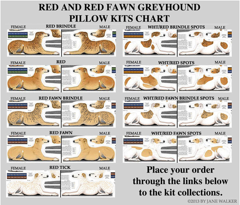 LIST OF GREYHOUND PILLOW KITS COLLECTIONS fabric by artbyjanewalker on Spoonflower - custom fabric