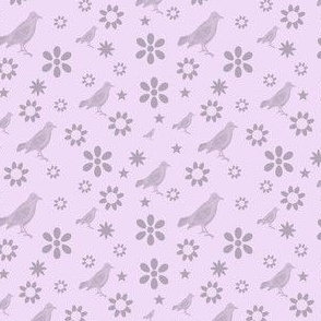 Pink and Mauve Birds and Flowers