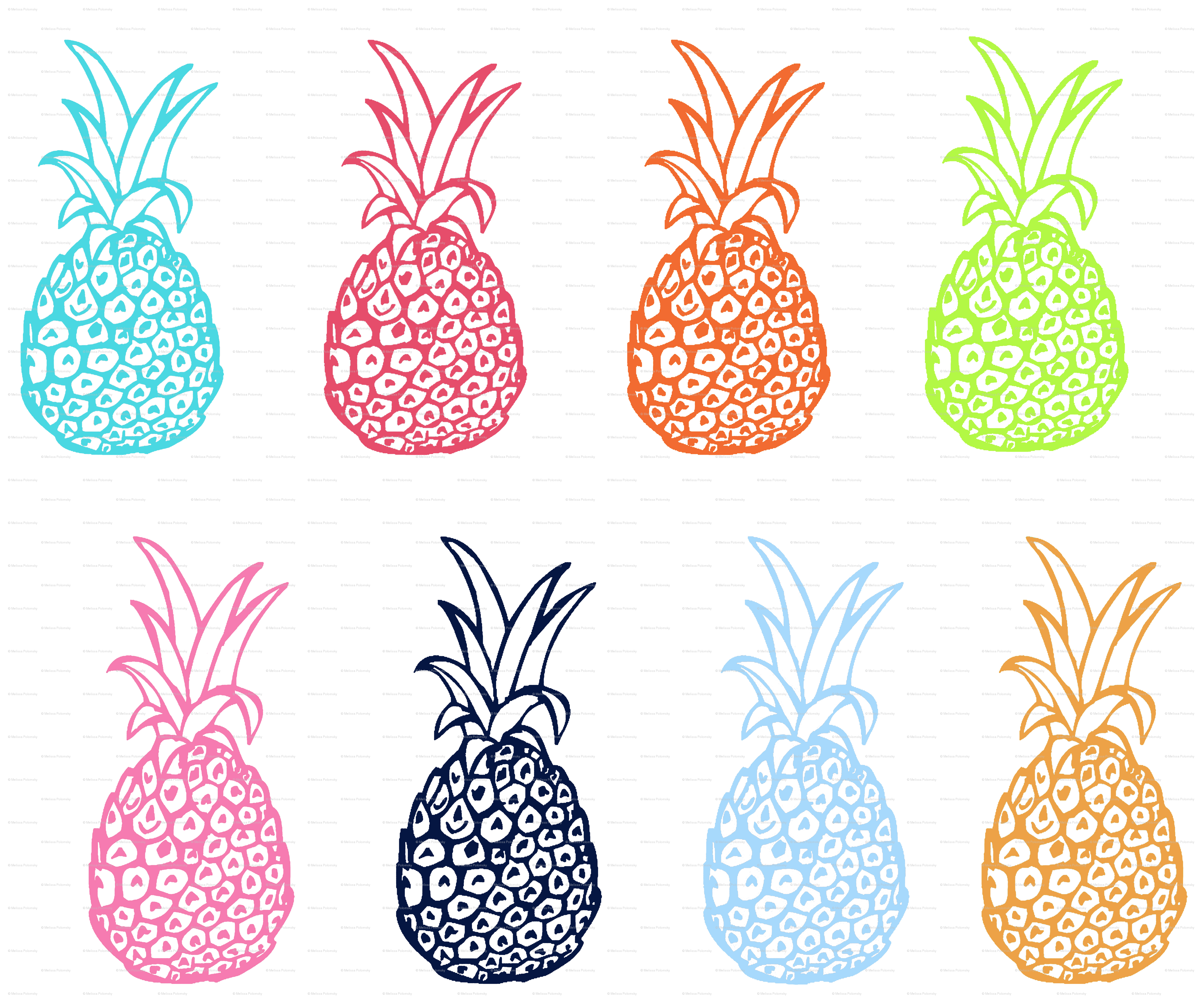 EXTRA LARGE Pineapple Party In Multicolor Wallpaper