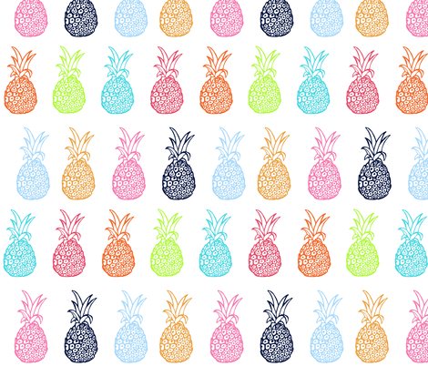 EXTRA LARGE Pineapple Party In Multicolor Fabric By Theartwerks On Spoonflower