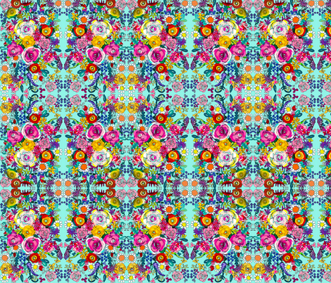 Les Fleurs // Turquoise  fabric by theartwerks on Spoonflower - custom fabric