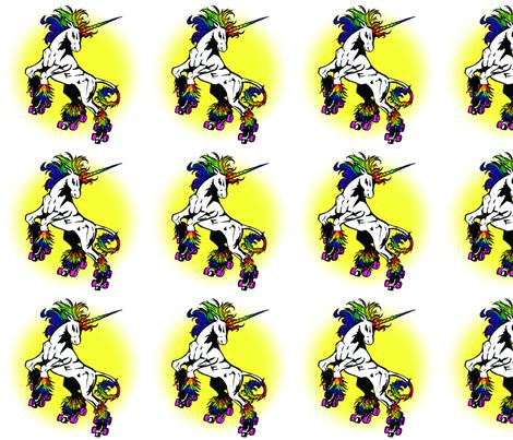 Rainbow Unicorn on Roller Skates fabric by t_n_penguin on Spoonflower - custom fabric