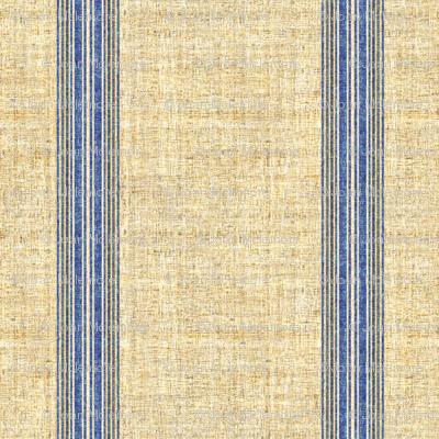 Grain Sack stripe in blue and linen