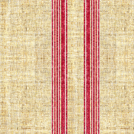 Faux Linen Vintage Grain Sack French Ticking Stripe fabric by joanmclemore on Spoonflower - custom fabric